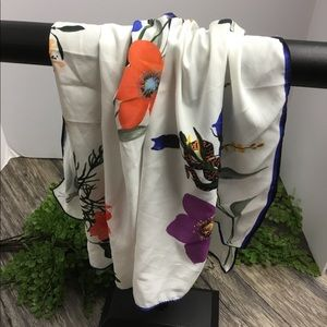 white oran purple floral scarf
